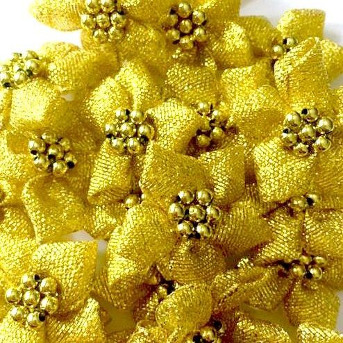 Satin Ribbon Poinsettia Flowers With Bead Centre 4cm - Gold Lurex