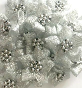 Ribbon Poinsettia Flowers With Bead Centre 4cm - Silver Lurex