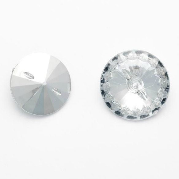 Round Acrylic Diamante Buttons Size 32