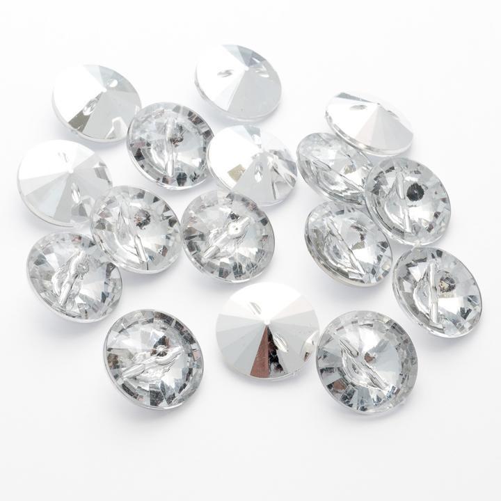 Round Acrylic Diamante Buttons Size 40