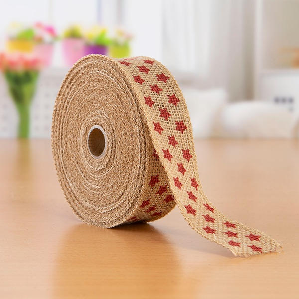 Christmas Hessian Ribbon Stars - 38mm Wide