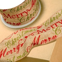 Merry Christmas Wired Hessian Ribbon - 63mm Wide
