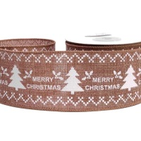 Christmas Tree Wired Hessian Ribbon - 63mm Wide