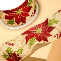 Christmas Poinsettia  Wired Hessian Ribbon - 63mm Wide