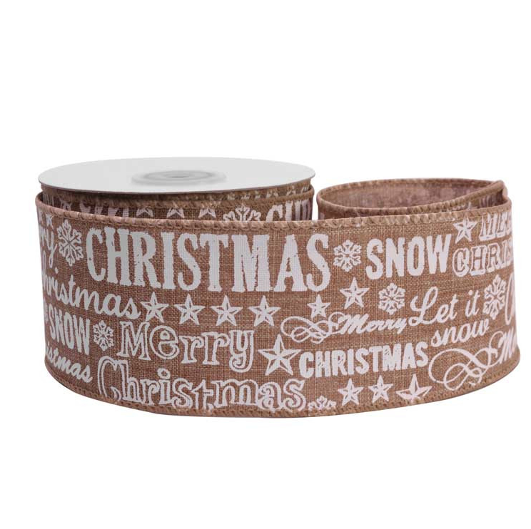 White Christmas Print Wired Hessian Ribbon - 63mm Wide