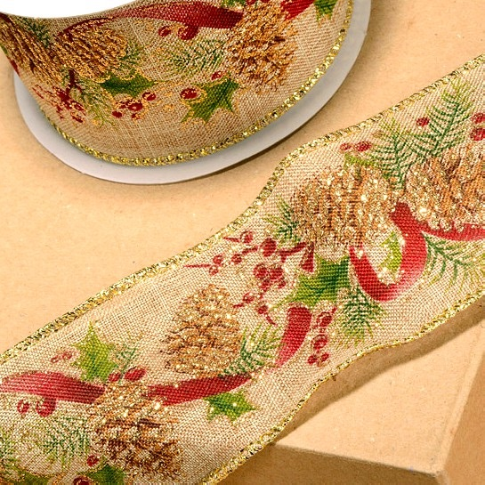 Christmas Pine Cones  Wired Hessian Ribbon - 60mm Wide
