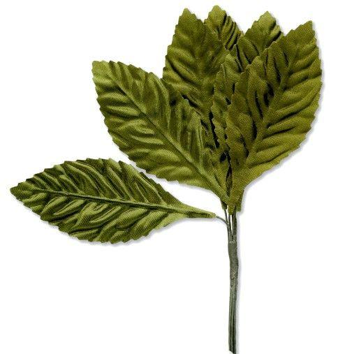 Green Satin Silk Leaves on Stem - 35mm