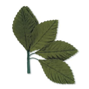 Beautiful Green Satin Silk Leaves on Stem - 60mm