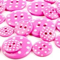 Round Spotty Buttons Size 36 - Cerise Pink & White