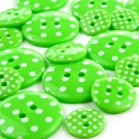 Round Spotty Buttons Size 36 - Emerald Green & White