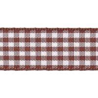 Berisfords 10mm Wide Gingham Ribbon - Brown