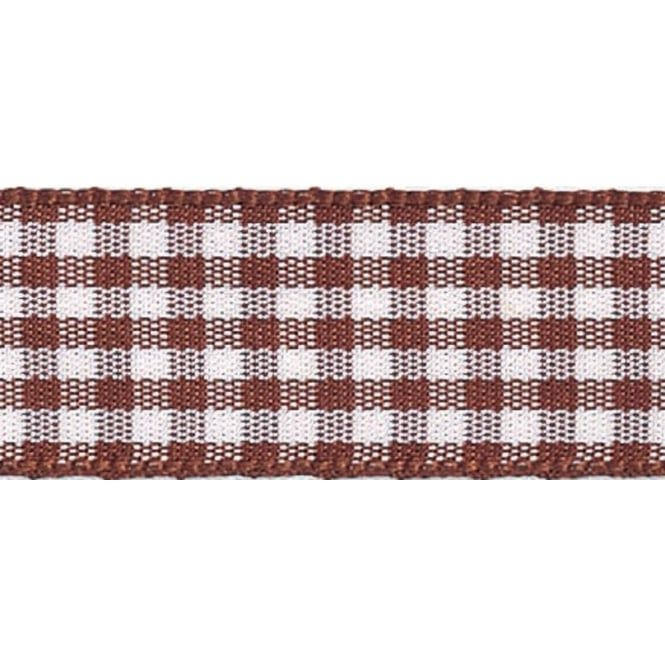 Berisfords 10mm Wide Gingham Ribbon - Brown