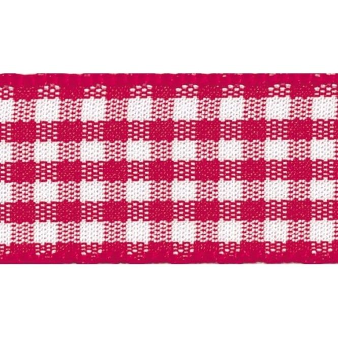 Berisfords 10mm Wide Gingham Ribbon - Red