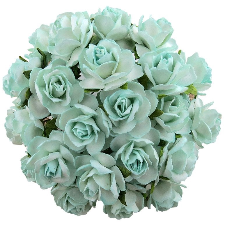 Large Mulberry Paper Open Roses 30mm - Aqua