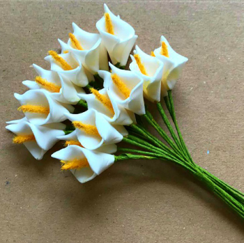 White Mini Foam Calla Lilies - 30mm