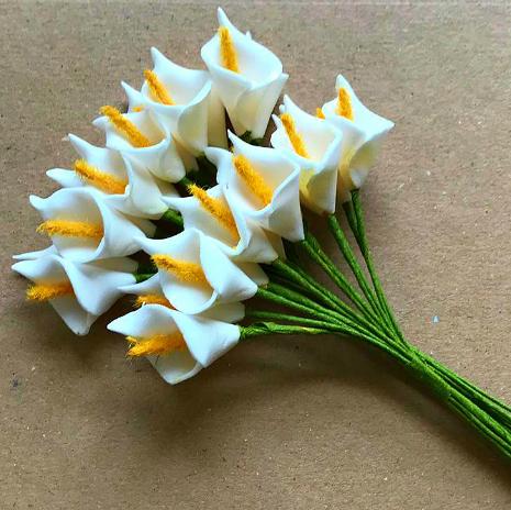 White Mini Foam Calla Lilies - 30mm