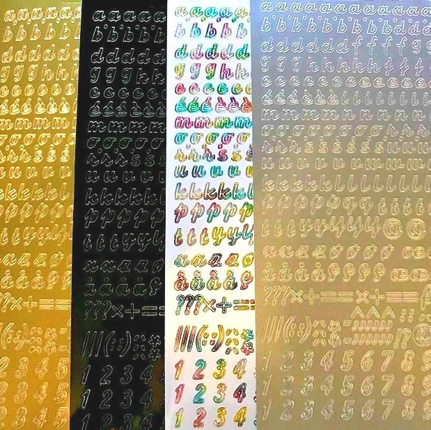 Italic Alphabet Lower Case Letters Peel Off Sticker Sheet