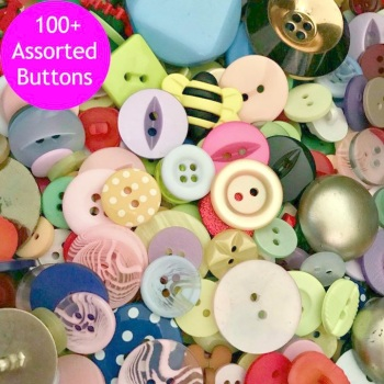 100 Assorted Buttons - Mixed Colours & Sizes