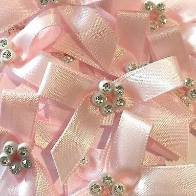 Sparkly Diamante Ribbon Bows - Light Pink