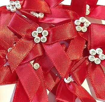 Sparkly Diamante Ribbon Bows - Red