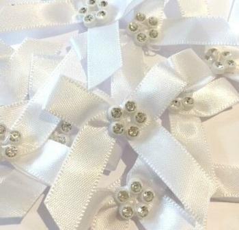 Sparkly Diamante Ribbon Bows - White