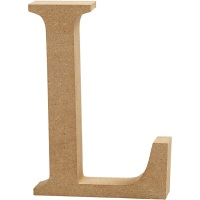 MDF Free Standing Wooden Alphabet Letter L - 13cm High