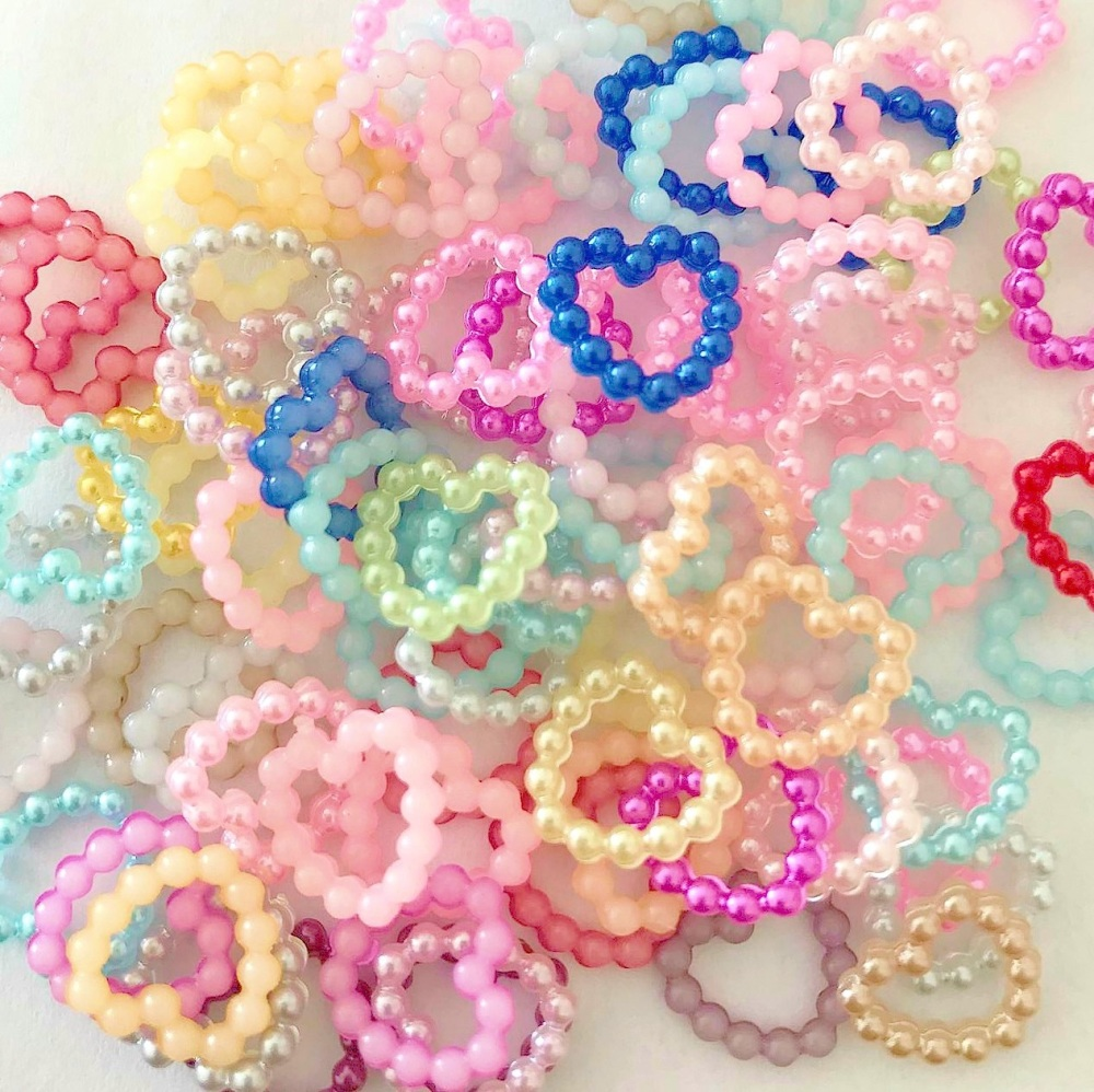 Resin Flat Back Pearl Hearts - 10mm