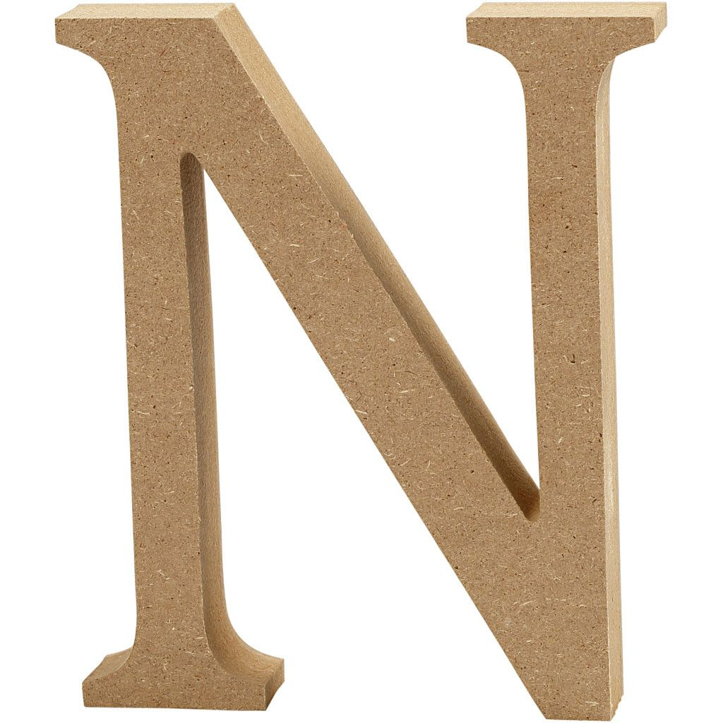 MDF Free Standing Wooden Alphabet Letter N - 13cm High
