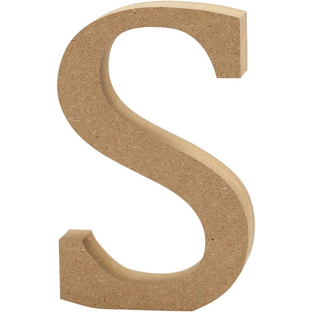 MDF Free Standing Wooden Alphabet Letter S - 13cm High