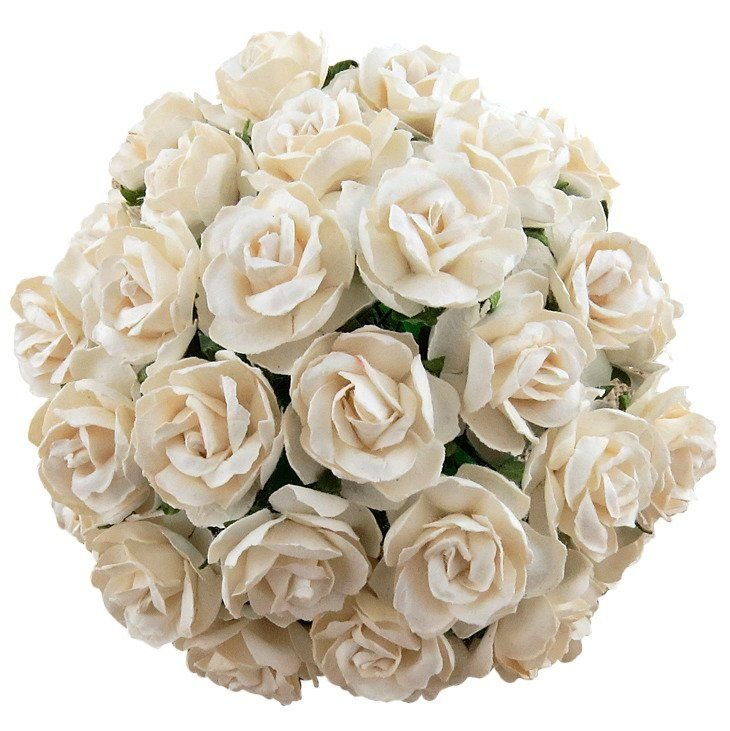 Large Mulberry Paper Open Roses 30mm - Mixed Cream/Ivory