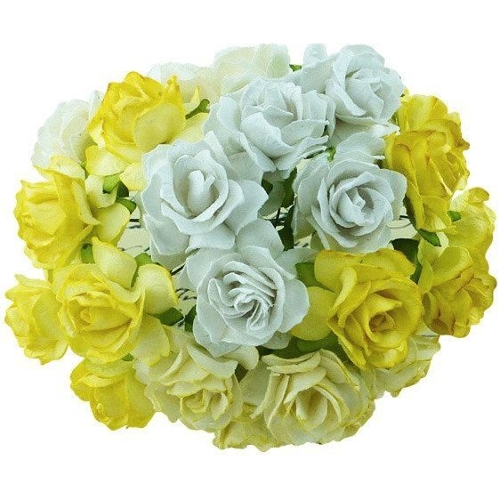 Large Mulberry Paper Open Roses 30mm - Mixed Yellow/Lemon