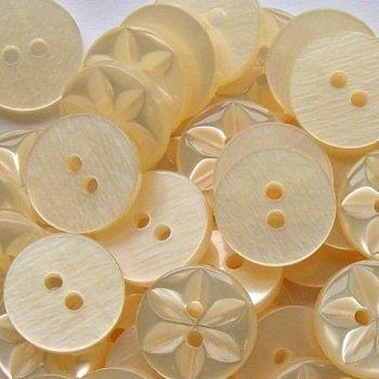 Round Star Buttons Size 26 - Cream