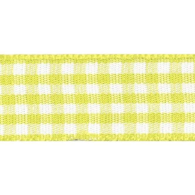 Berisfords 10mm Wide Gingham Ribbon - Lemon
