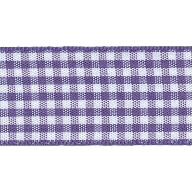 Berisfords 10mm Wide Gingham Ribbon - Liberty (Purple)