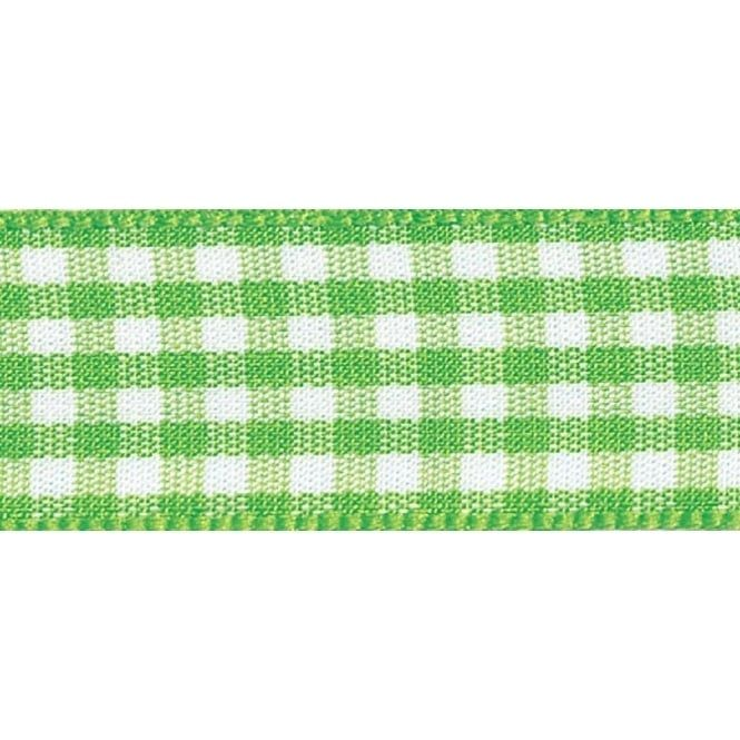 Berisfords 10mm Wide Gingham Ribbon - Meadow Green