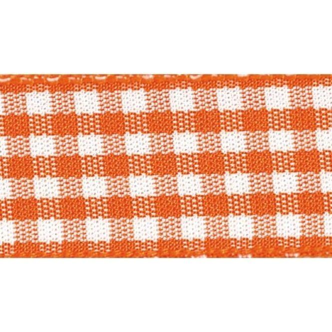 Berisfords 10mm Wide Gingham Ribbon - Orange Delight