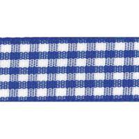Berisfords 10mm Wide Gingham Ribbon - Royal Blue