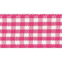 Berisfords 10mm Wide Gingham Ribbon - Shocking Pink