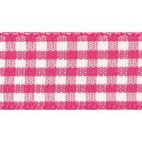 Berisfords 10mm Wide Gingham Ribbon - Shocking Pink
