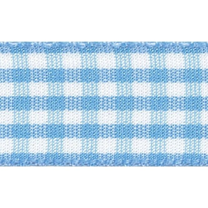 Berisfords 10mm Wide Gingham Ribbon - Sky Blue