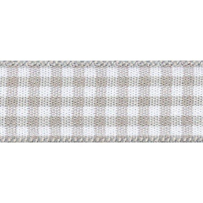 Berisfords 10mm Wide Gingham Ribbon - Steel Grey