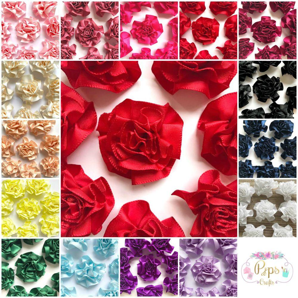 Satin Ribbon Ruffle Roses
