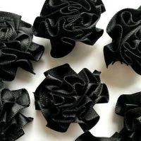 Satin Ribbon Ruffle Roses 3.5cm - Black
