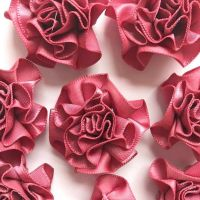 Satin Ribbon Ruffle Roses 3.5cm - Dusky Pink