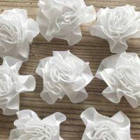 Satin Ribbon Ruffle Roses 3.5cm - White
