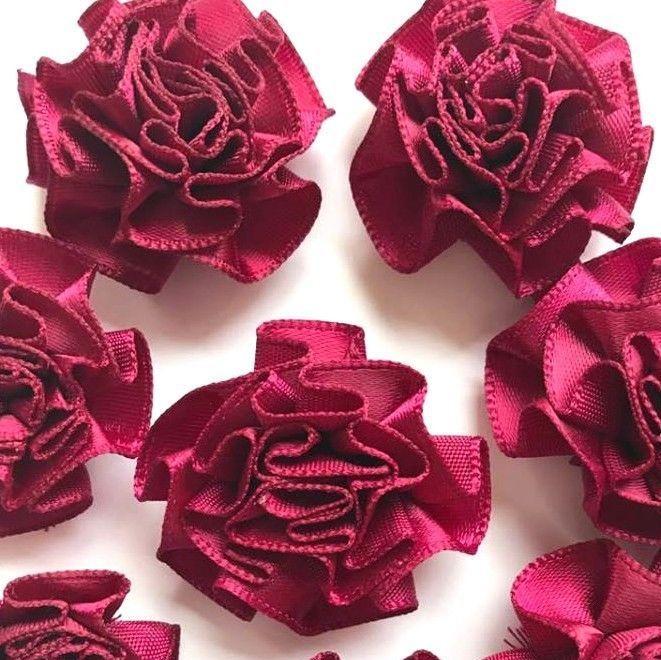 Satin Ribbon Ruffle Roses 3.5cm - Burgundy