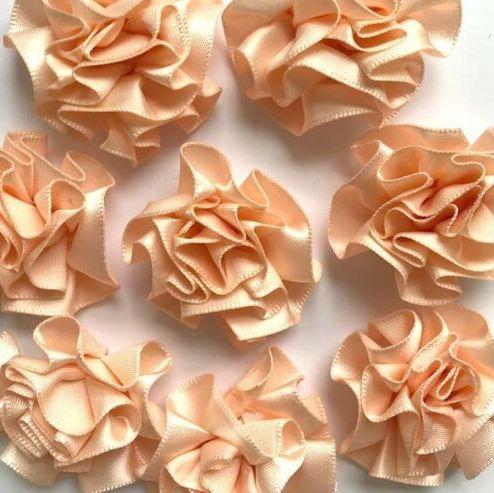 Satin Ribbon Ruffle Roses 3.5cm - Peach
