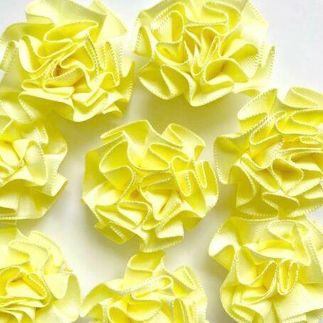 Satin Ribbon Ruffle Roses 3.5cm - Yellow