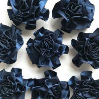 Satin Ribbon Ruffle Roses 3.5cm - Navy Blue