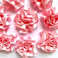 Satin Ribbon Ruffle Roses 3.5cm - Light Pink